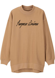 Unisex PURPOSE DRIVEN Print Mock Neck Relaxed Sweatshirt (Camel)