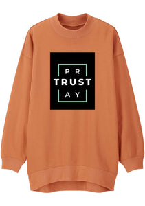 Unisex TRUST GOD Print Mock Neck Relaxed Sweatshirt (Orange)