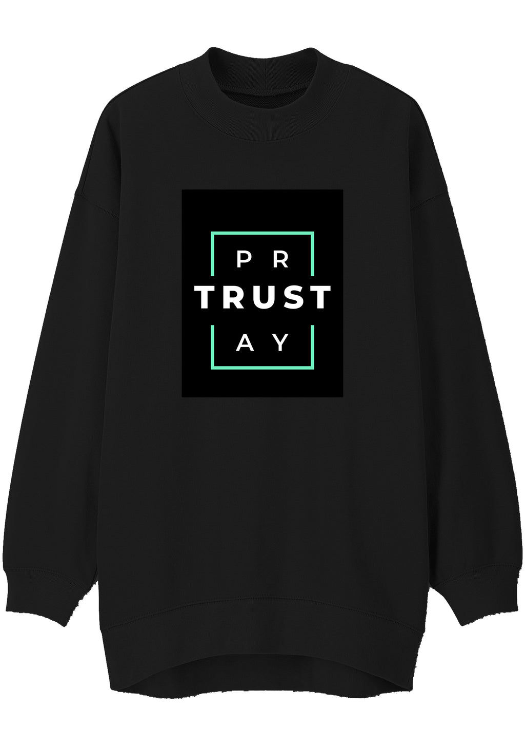 Unisex TRUST GOD Print Mock Neck Relaxed Sweatshirt (Black)