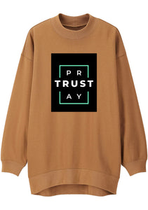 Unisex TRUST GOD Print Mock Neck Relaxed Sweatshirt (Camel)