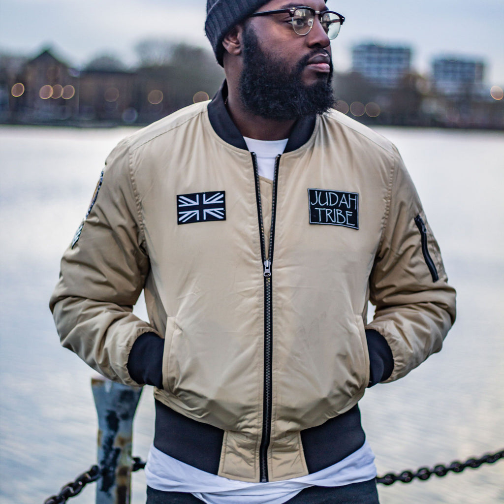 Mens LION OF JUDAH Bomber Jacket (Gold)