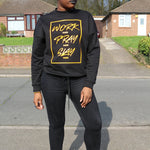 Womens WORK, PRAY & SLAY oversized crew neck sweatshirt