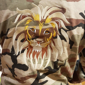 Mens LION OF JUDAH Camo Cotton Coach Jacket