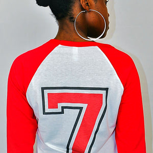 Womens No7 Baseball Contrast 3/4 sleeve T-Shirt