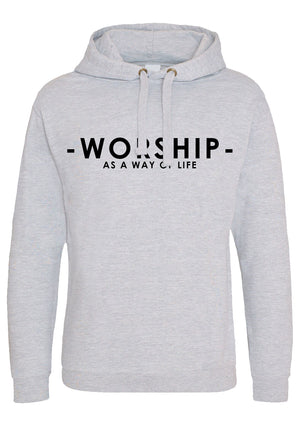 Women's WORSHIP Oversized Pullover Hoodie (Heather Grey)