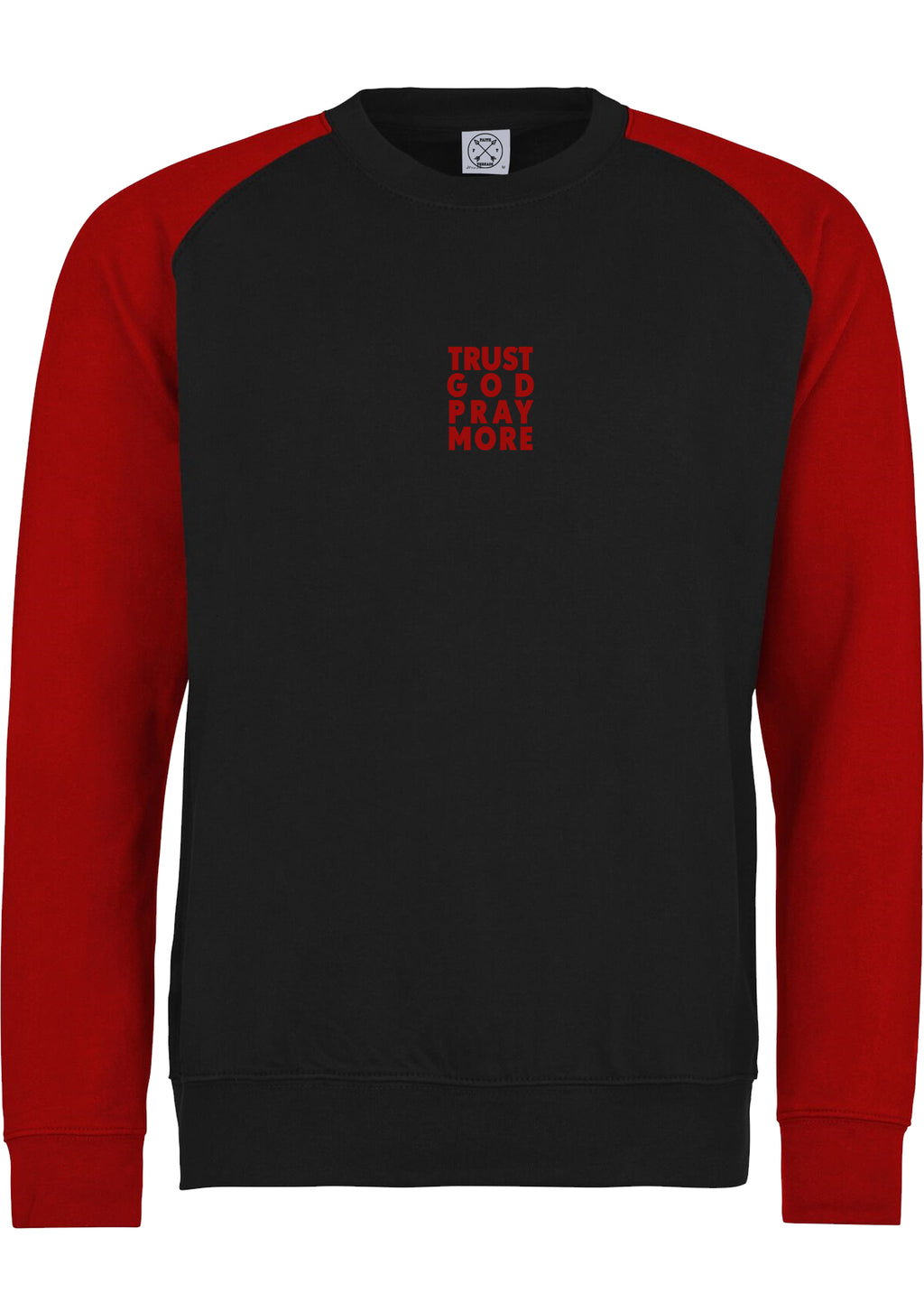 Unisex TRUST GOD Baseball Sweatshirt (Black Red)