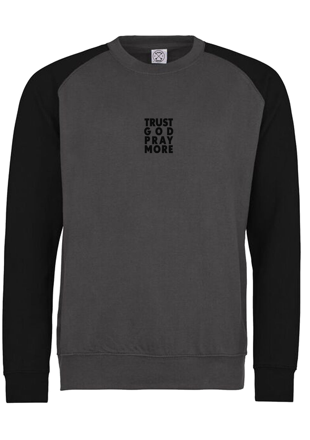 Unisex TRUST GOD Baseball Sweatshirt (Charcoal Black)