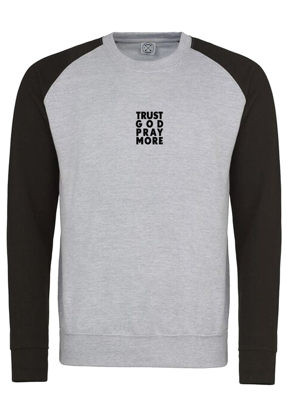 Unisex TRUST GOD Baseball Sweatshirt (H.grey Black)