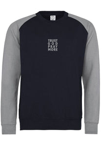 Unisex TRUST GOD Baseball Sweatshirt (Navy H.grey)