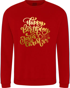 "Unisex ""HAPPY BIRTHDAY JESUS"" CHRISTMAS SWEATSHIRT (Red)"