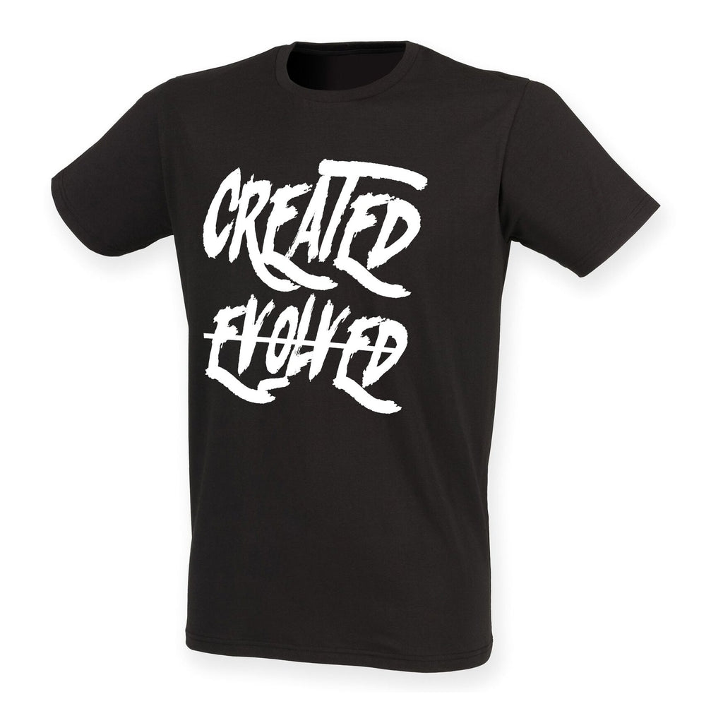 Mens Created not Evolved stretch T S/S