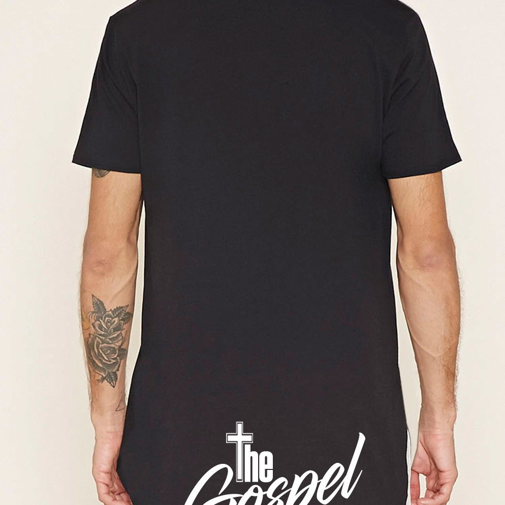 Mens YOU REP Longline t-shirt with dipped hem S/S