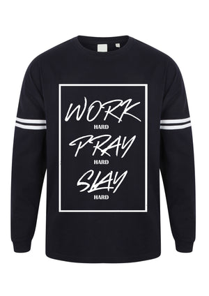 Womens WORK PRAY SLAY drop shoulder slogan top (White Stripes)