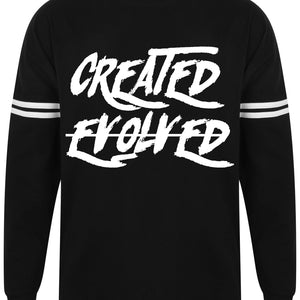 Mens CREATED NOT EVOLVED drop shoulder slogan top L/S