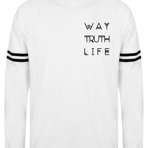 Mens WAY TRUTH LIFE drop shoulder slogan top L/S
