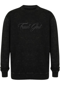 TRUST GOD Unisex oversized washed tour sweatshirt