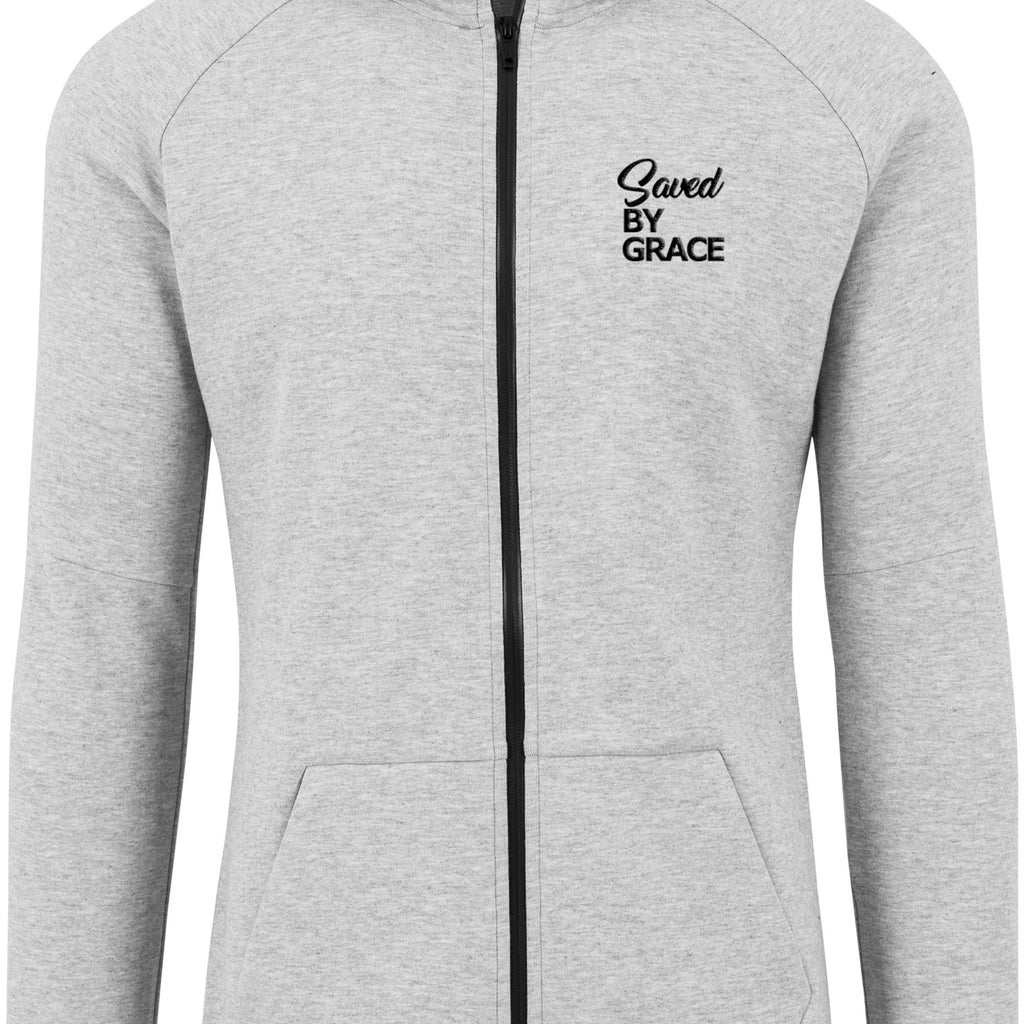 SBG Unisex Athletic high neck interlock Zip Hoodie (Heather Grey)