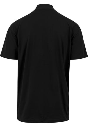 THE SAVIOUR Oversized Mock neck T-Shirt (Black with White)