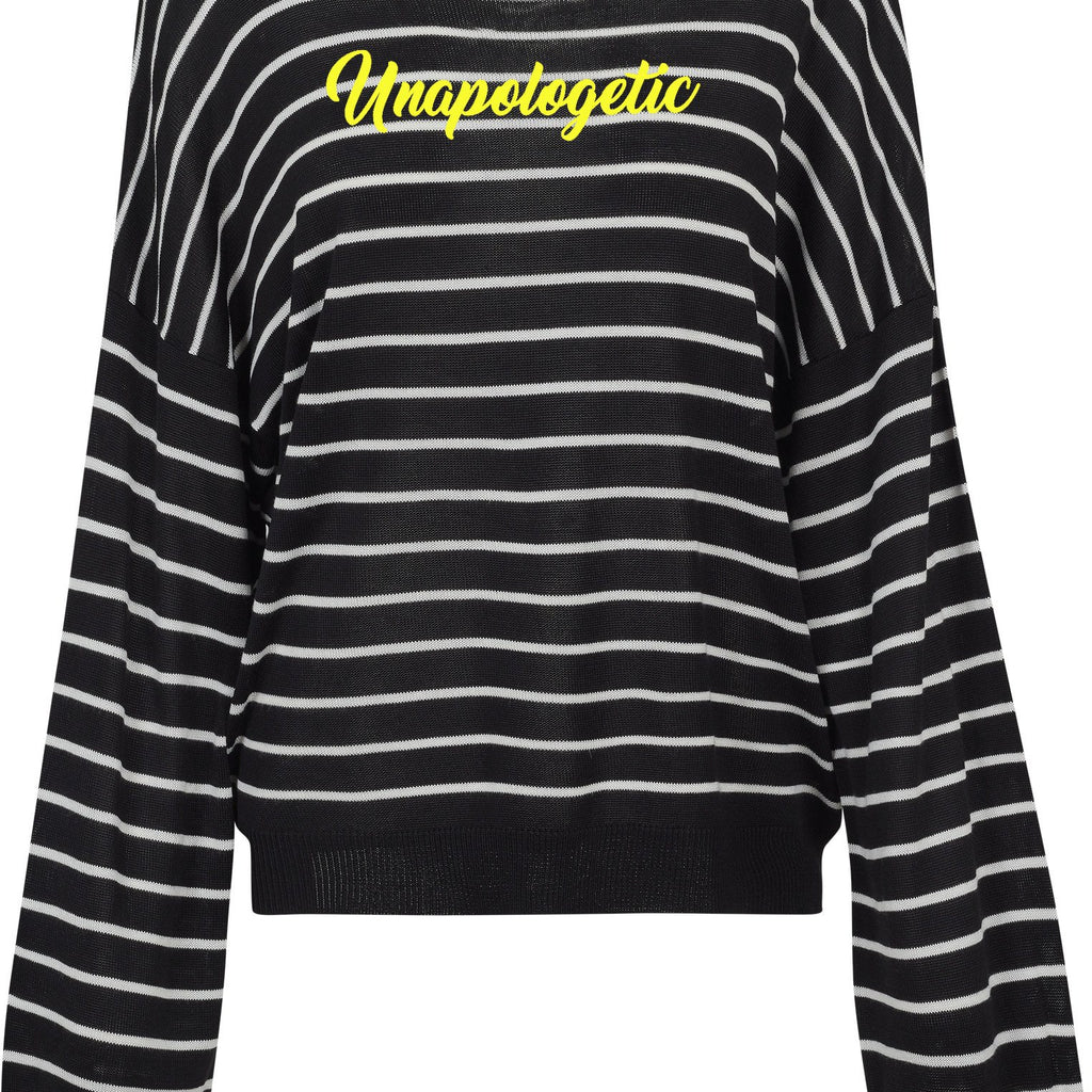 Womens Unapologetic Oversized 2tone striped crew Sweater