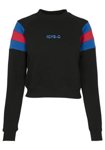 Womens IGYB Stripe Sleeve Crew neck Sweater (Black)