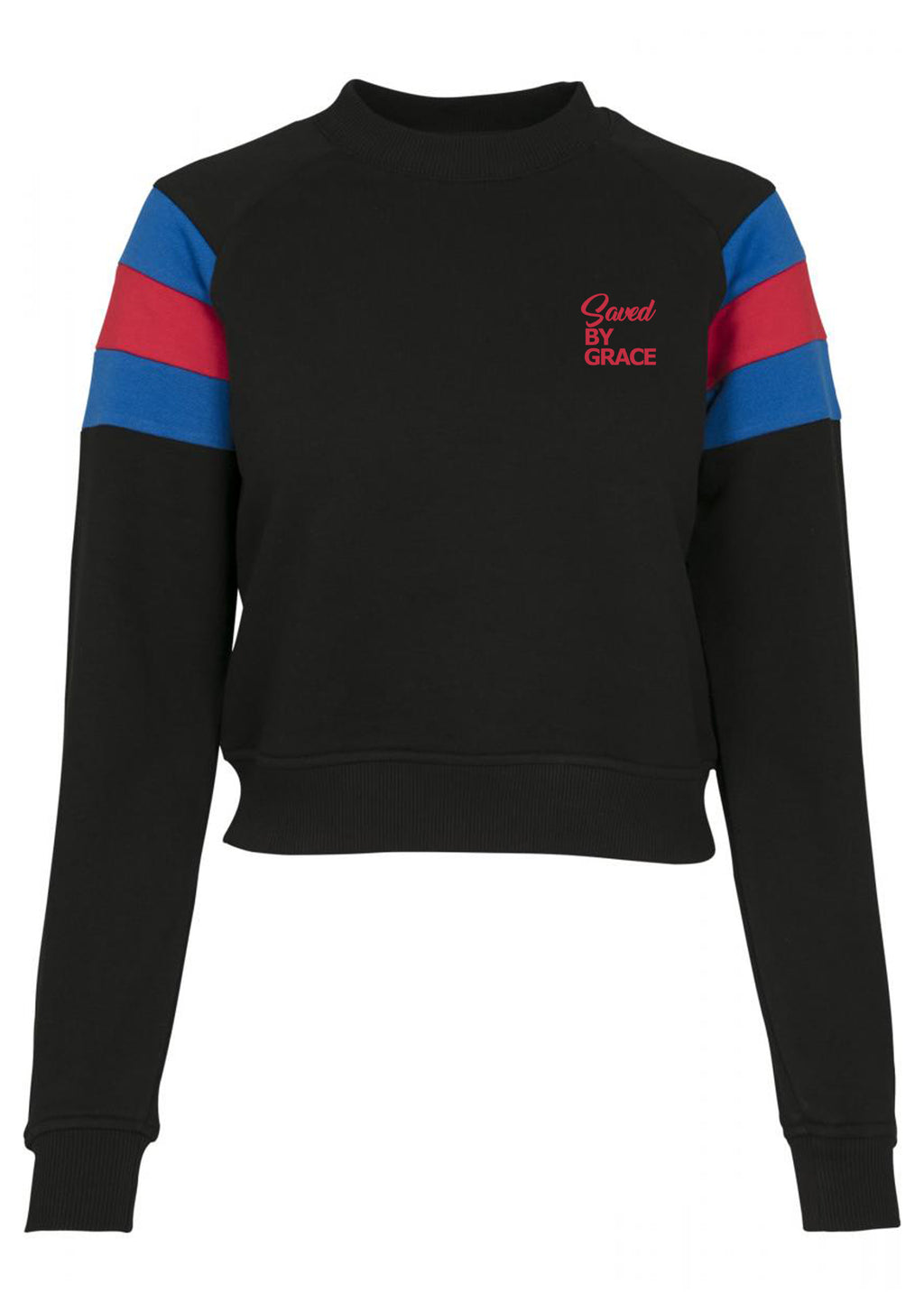 Womens SBG Stripe Sleeve Crew neck Sweater (Black)