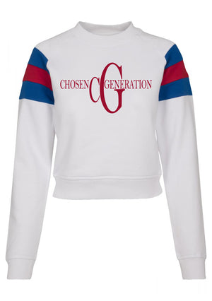 Women's CHOSEN GEN Stripe Sleeve Crew neck Sweater (White)