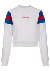 Womens IGYB Stripe Sleeve Crew neck Sweater (White)
