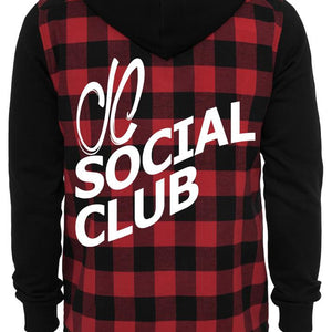 Mens JCSC Hooded Flannel Sweat Sleeve Shirt
