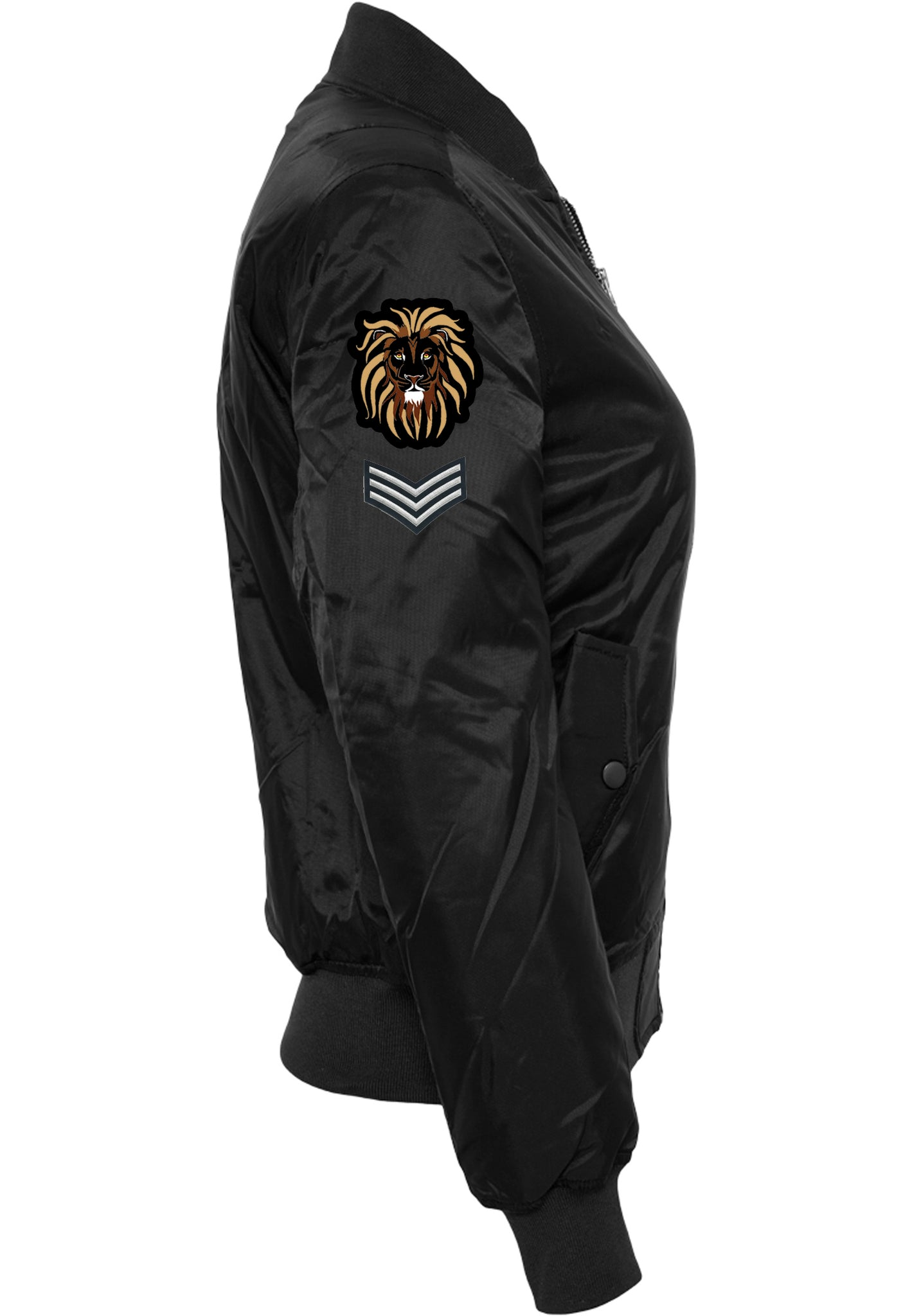 Womens LION OF JUDAH Bomber Jacket (Black)