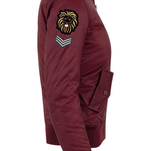 Womens LION OF JUDAH Bomber Jacket (Burgundy)