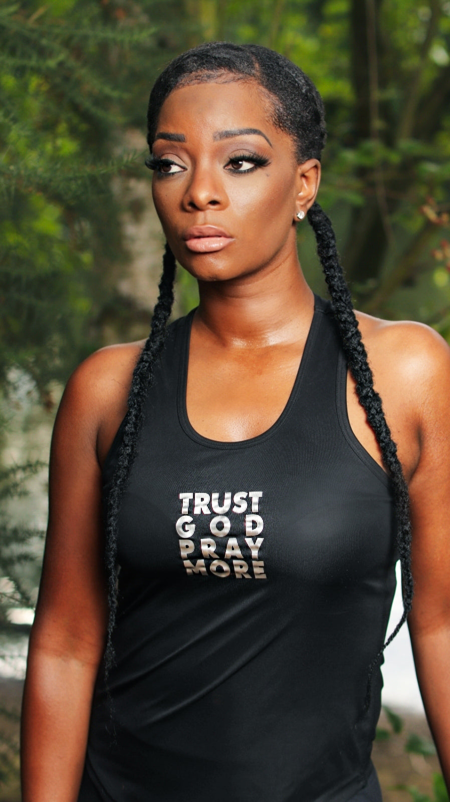 Womens TRUST GOD Performance Racer Back Vest (Black)