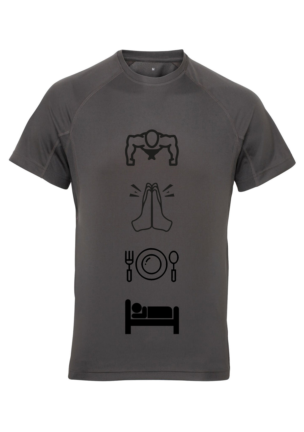 Mens WORKOUT PRAY Panelled Tech T-Shirt (Charcoal)