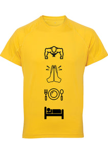 Mens WORKOUT PRAY Panelled Tech T-Shirt (Yellow)