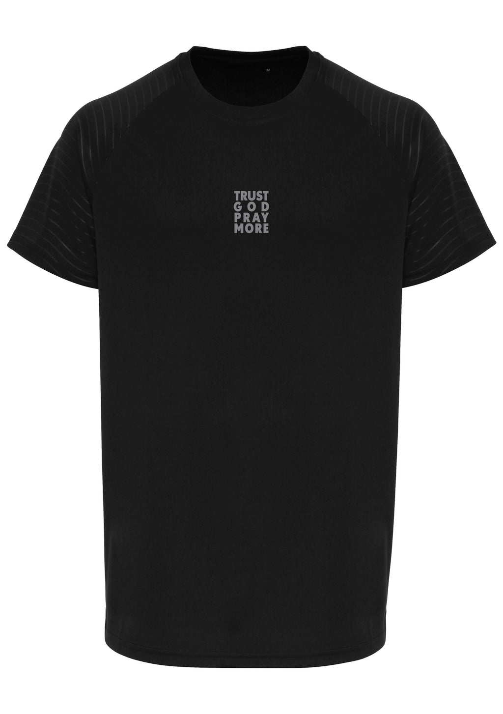 Mens TRUST GOD Embossed Sleeve T-Shirt (Black)