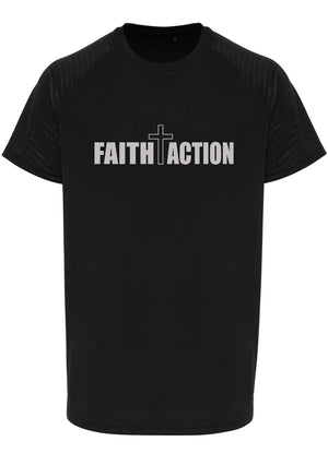 Mens FAITH+ACTION Embossed Sleeve T-Shirt (Black)