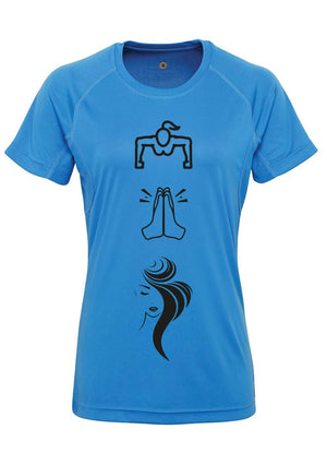 Womens WORK PRAY SLAY Panelled Tech T-Shirt (Blue)
