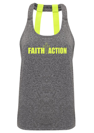 Womens FAITH+ACTION double strap back vest (Black Melange)