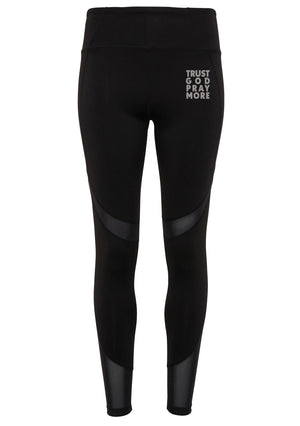 Womens TRUST GOD Mesh tech panel leggings full-length