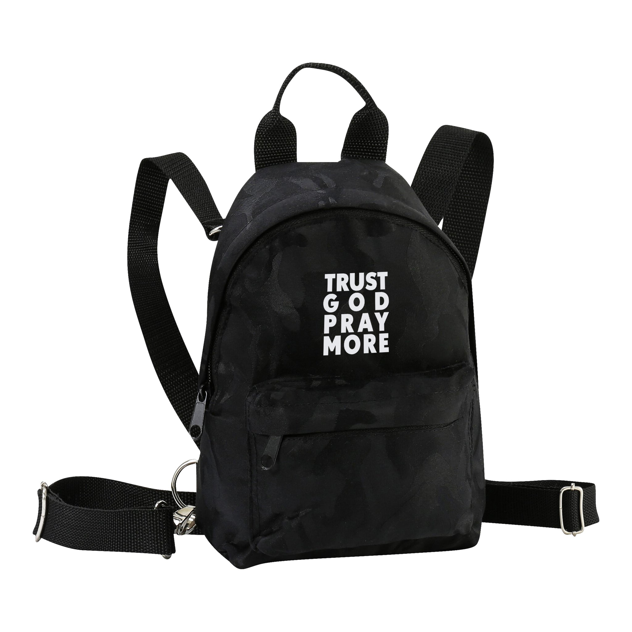 TRUST GOD Black Camo mini backpack