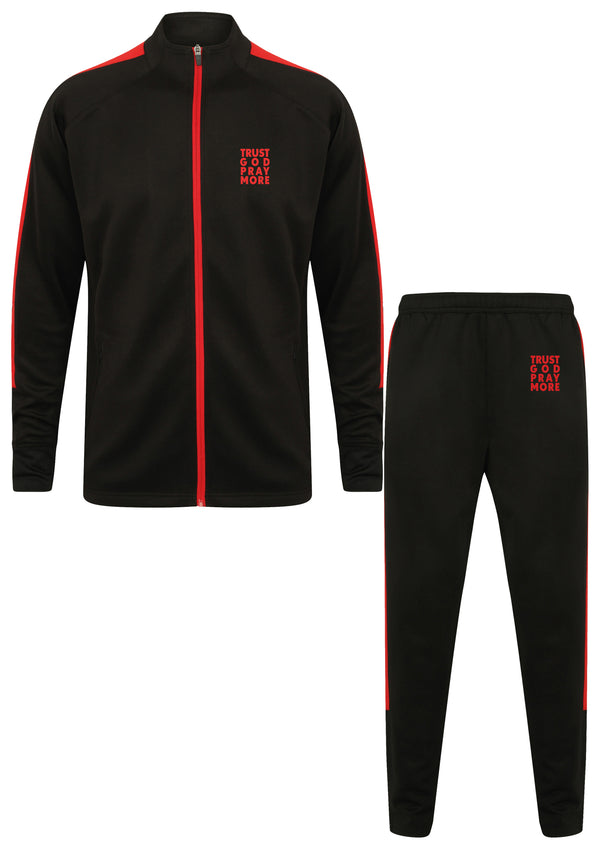 TRUST GOD Unisex Knitted Red Tracksuit Set