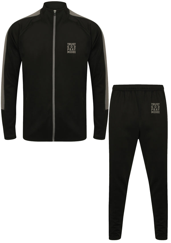 TRUST GOD Unisex Knitted Tracksuit Set (Gunmetal)