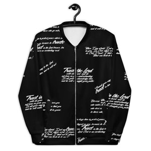 Unisex TRUST GOD Graffiti Bomber Jacket (black)