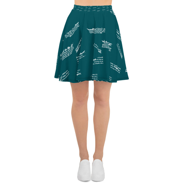 Women's Green Trust God Graffiti Skater Skirt