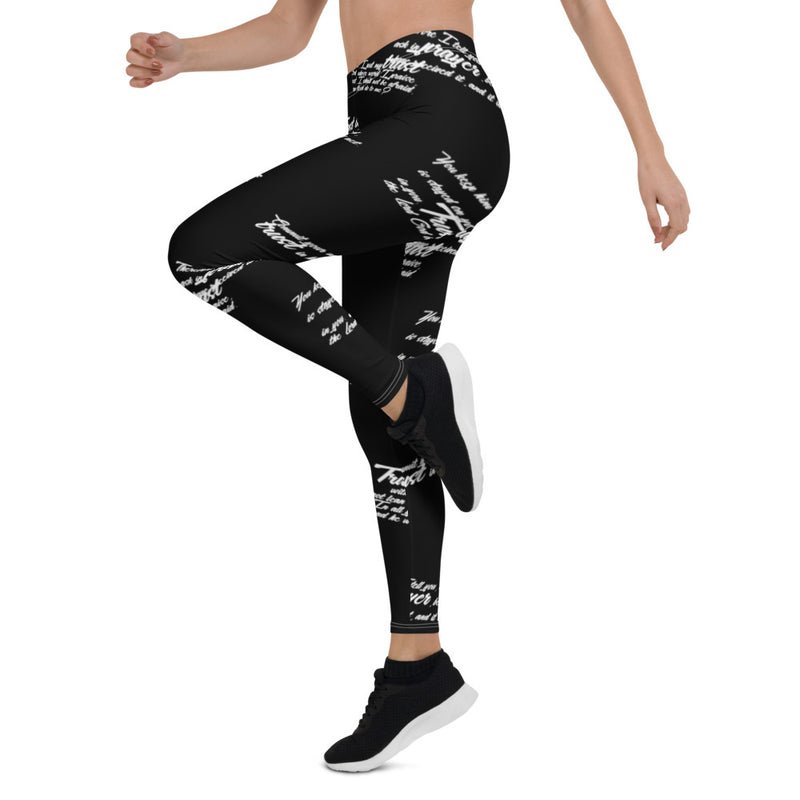 Women's Black Trust God Graffiti Leggings