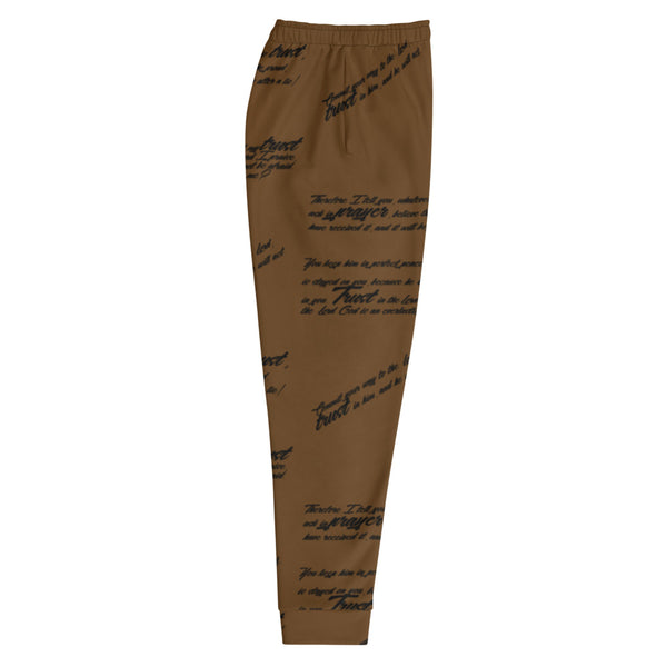 Men's TRUST GOD Brown Graffiti Joggers
