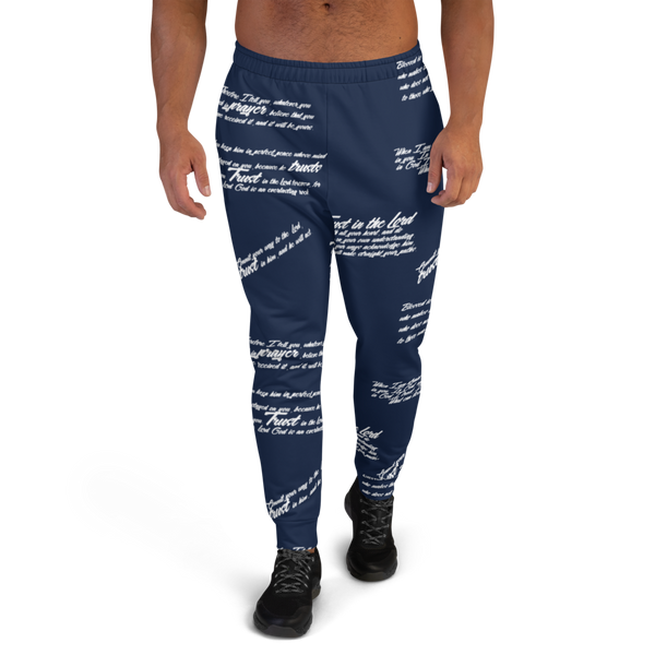 Men's TRUST GOD Navy Graffiti Joggers