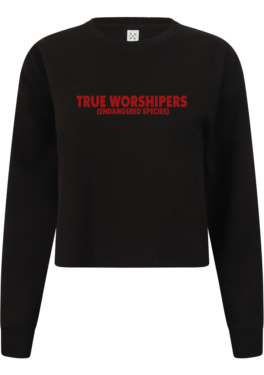 Womens TRUE WORSHIPERS Cropped Sweatshirt (Black)