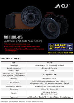 [NEW] AOI UAL-05 Underwater 0.75 Wide-angle Air Lens