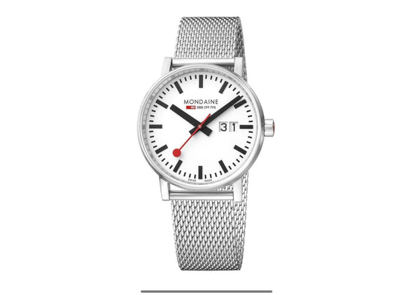 Mondaine Watch, MSE.40210.SM 40mm, Stainless Steel Mesh Strap