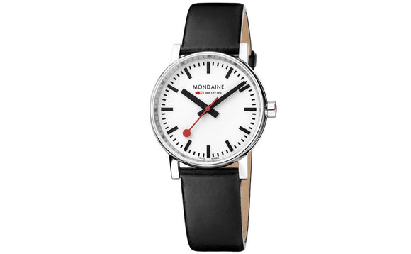 Mondaine Watch, MSE.35110.LB 35mm, Black Leather Strap